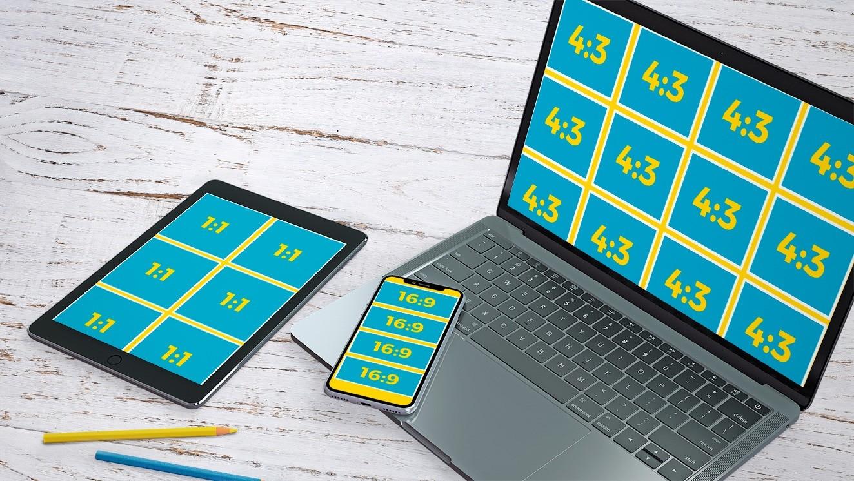 Ein Tablet, ein Laptop und ein Smartphone und ihre jeweiligen Seitenverhältnisse