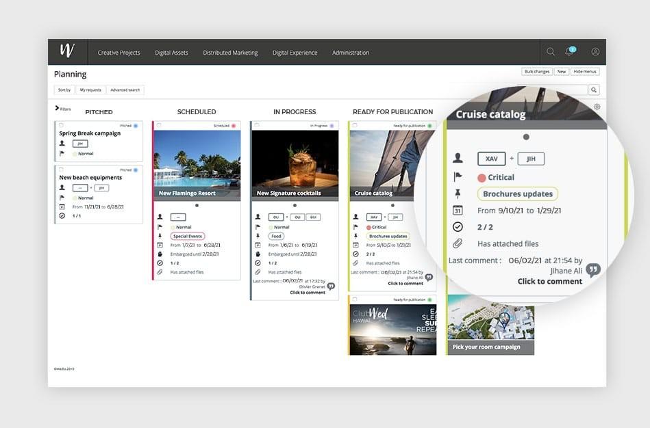 Wedia - Creative Project & Content Management : Planifiez et préparez vos initiatives marketing et vos projets créatifs